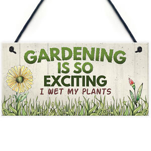 Gardening So Exciting Funny Novelty Garden Shed Sign Plaque Friendship Gift