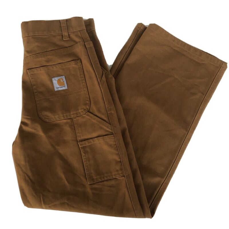 Boy's Carhartt Classic Duck Cotton Brown Carpenter Work Pants Size 14 Adjustable