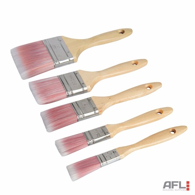 Silverline 5 Piece Synthetic Paint Brush Set For Gloss or Emulsion Paints