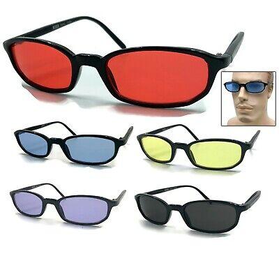 Color Tint Lens Plastic Rectangular Sunglasses Hippie Pimp Hippy Red Blue (Blue Lens Tint)