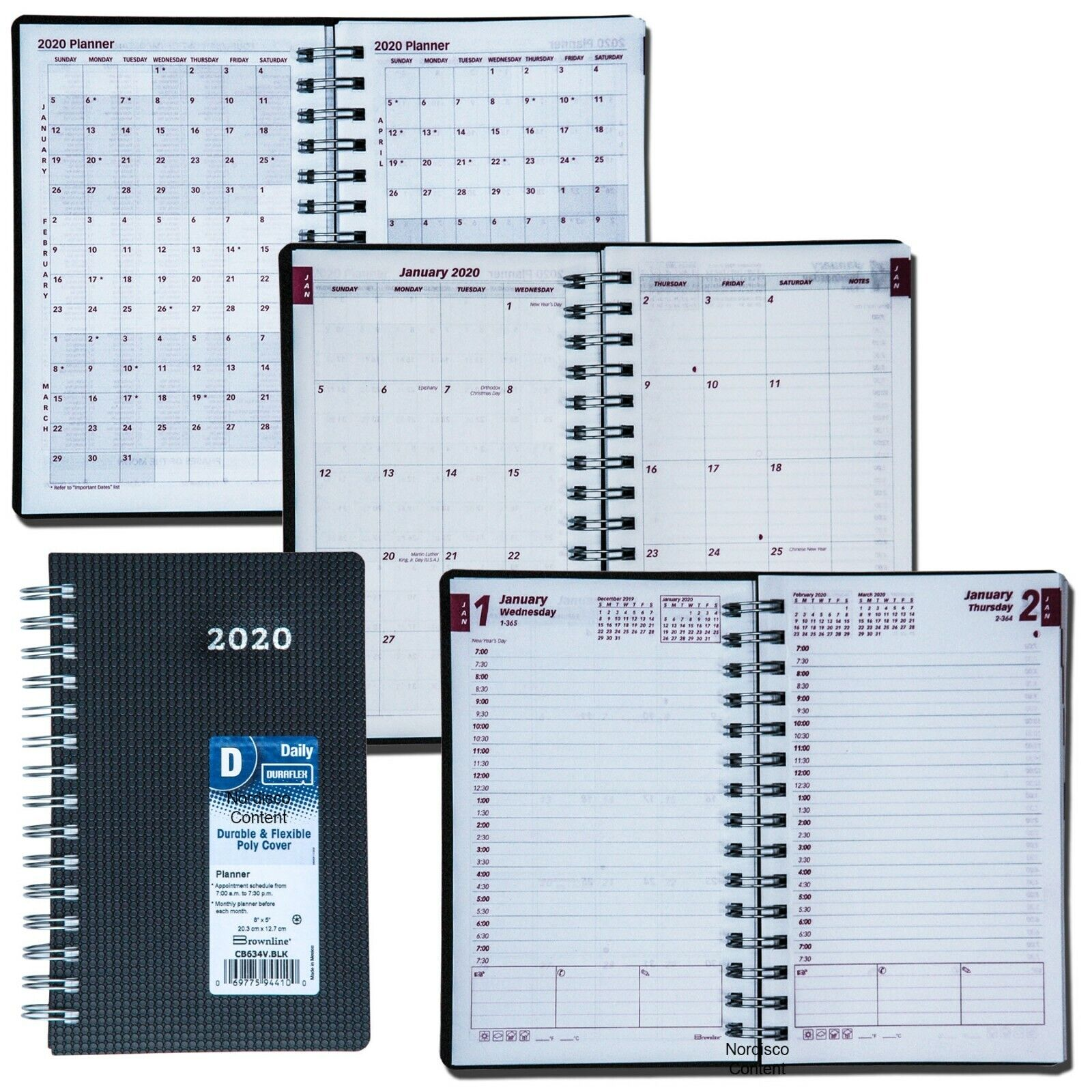 2020 cb634v blk duraflex daily planner appointment