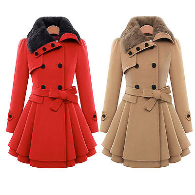 Women Thicken Fur Collared Winter Long Peacoat Coat Trench Outwear Jacket Dress 5