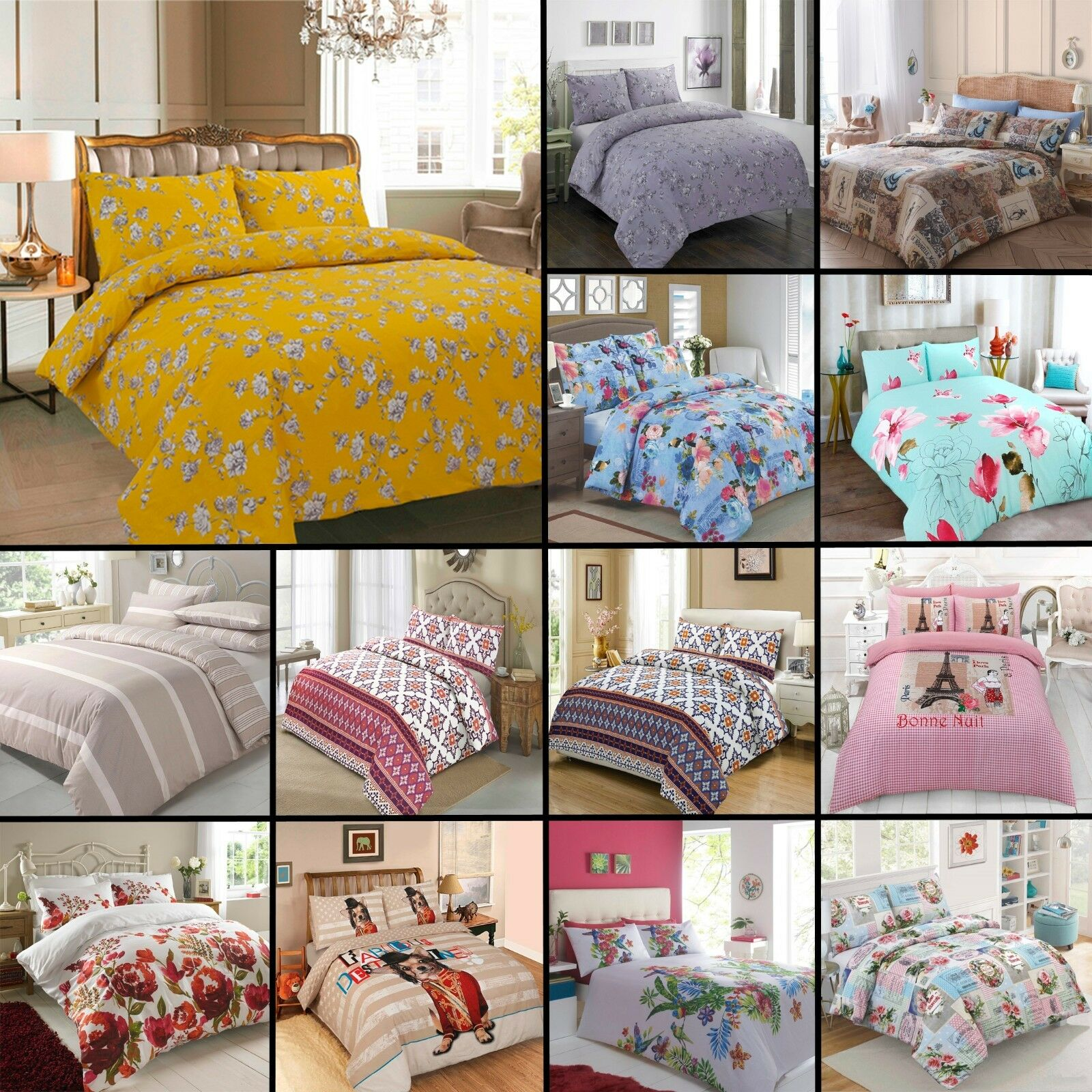 Modern Printed Poly Cotton Duvet Quilt Cover with Pillow Cas