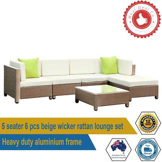 6 pcs Brown Wicker Rattan 5 Seater Outdoor Furniture Lounge Set
