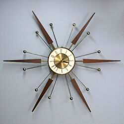 Vintage 30 ELGIN Atomic Starburst  Working Wall Clock Sunburst Teak Wood Brass
