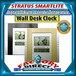 Stratus Smartlite Digital LCD Alarm/Calendar/Temperature Wall Desk Clock RRP-$39