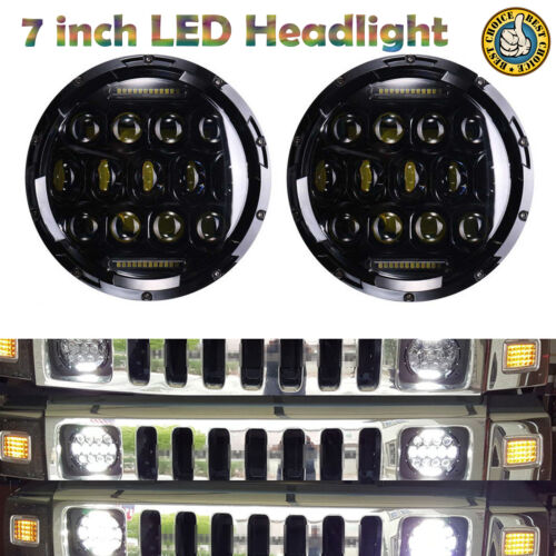 LED Projector Headlights For Hummer H1 H2 7inch Round DRL Lights H4 H13 Adapter