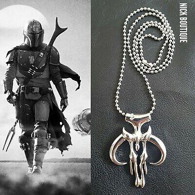 Mandalorian Mythosaur Skull Star Wars Pendant Chain Necklace Medallion Cosplay