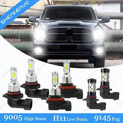 For Dodge Ram 1500 2500 3500 2009-2018 Combo LED Headlight Fog Light Bulbs 6000K