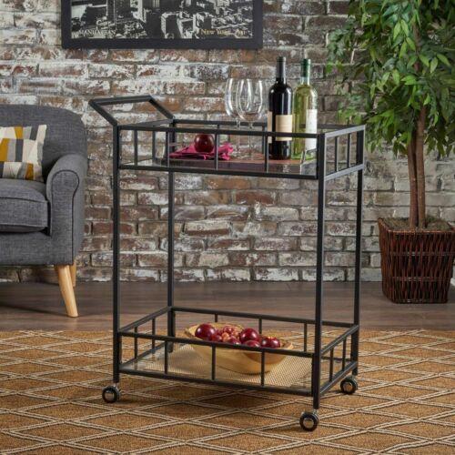 Talon Indoor Industrial Modern Black Iron Bar Cart with Tempered Glass Top Bar Carts & Serving Carts