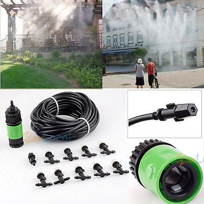Garden Plants Irrigation Patio Misting Hose 10 Mister Nozzles Cooling System YL