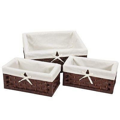 Household Essentials ML-7021 Set of Three Wicker Storage Baskets with - Wicker Storage Baskets