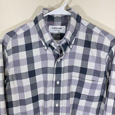 Thom Browne Gray & White Plaid Check Flannel Dress Shirt Mens Size 2 (Medium)
