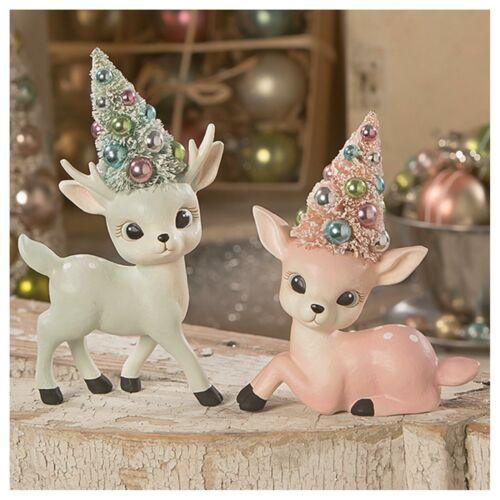 """Set/2 Bethany Lowe 6.5"""" Pastel Reindeer Bottle Brush Retro Vntg Xmas Pink Decor"""