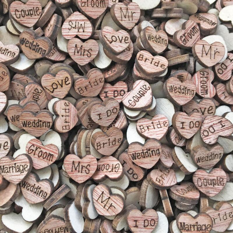 13 Styles Wedding Love Hearts Wooden Shabby Chic Scrapbook Confetti Hearts