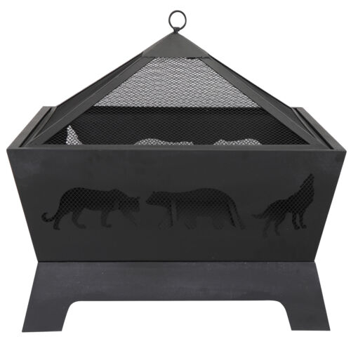 Portable Courtyard Fire Bowl Barrone Burning Fire Pit with Accessories Black Fire Pits