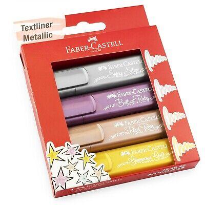 Faber-Castell Textliner 46 Metálico Subrayador Marcador Pluma - Cartera De 4