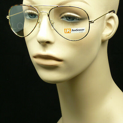 Photo chromatic transition sunglasses men women clear tint aviator frame (Photo Grey Lenses)
