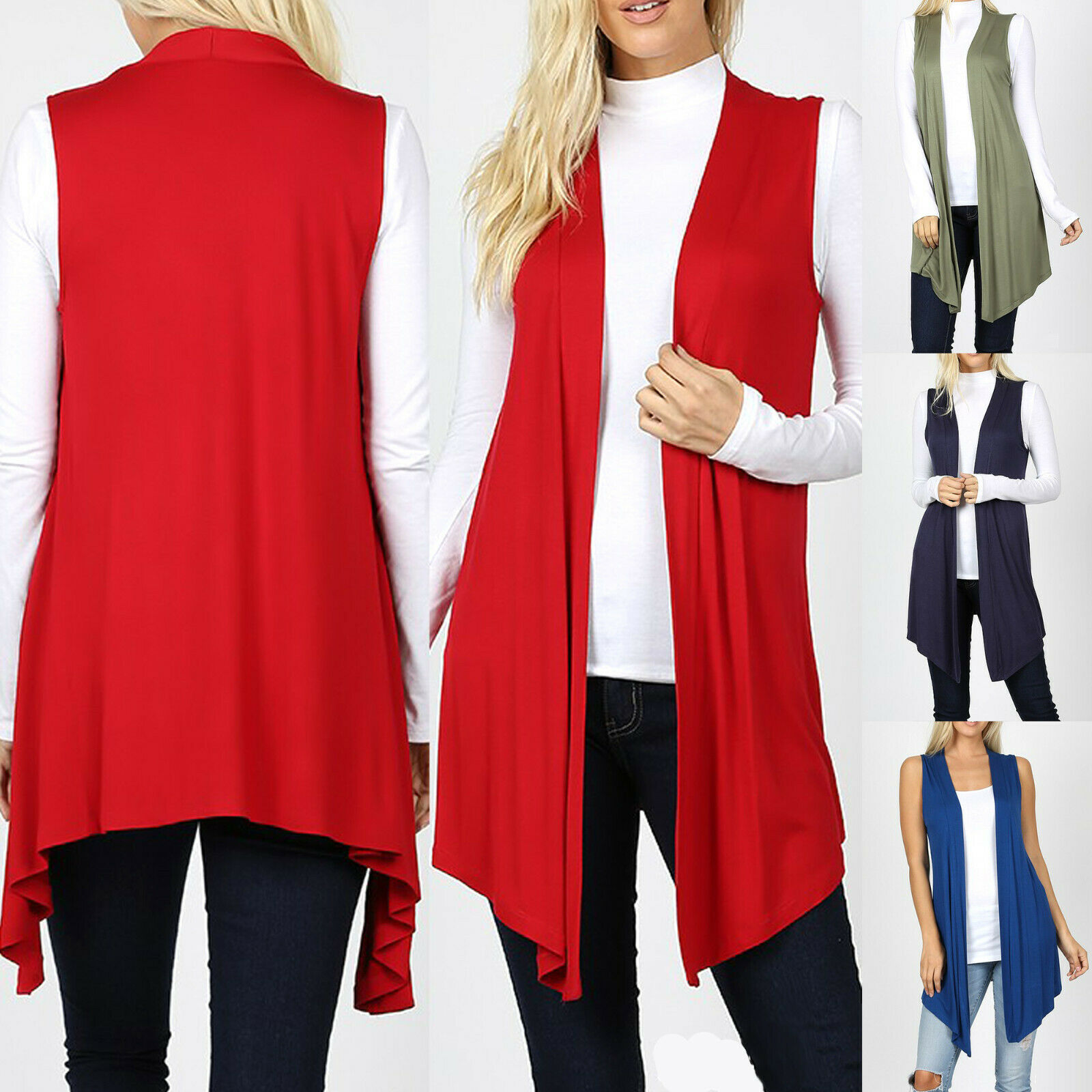 Sleeveless Cardigan Vest Womens Long Tunic Top Drape Open Front Waterfall Casual Clothing, Shoes & Accessories