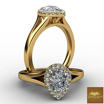 100% Natural Halo Pear Diamond Engagement U Pave Ring GIA Certified G VVS2 0.7Ct