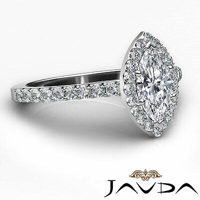 Halo French Pave Set Marquise Diamond Engagement Anniversary Ring GIA H VS1 1Ct 9