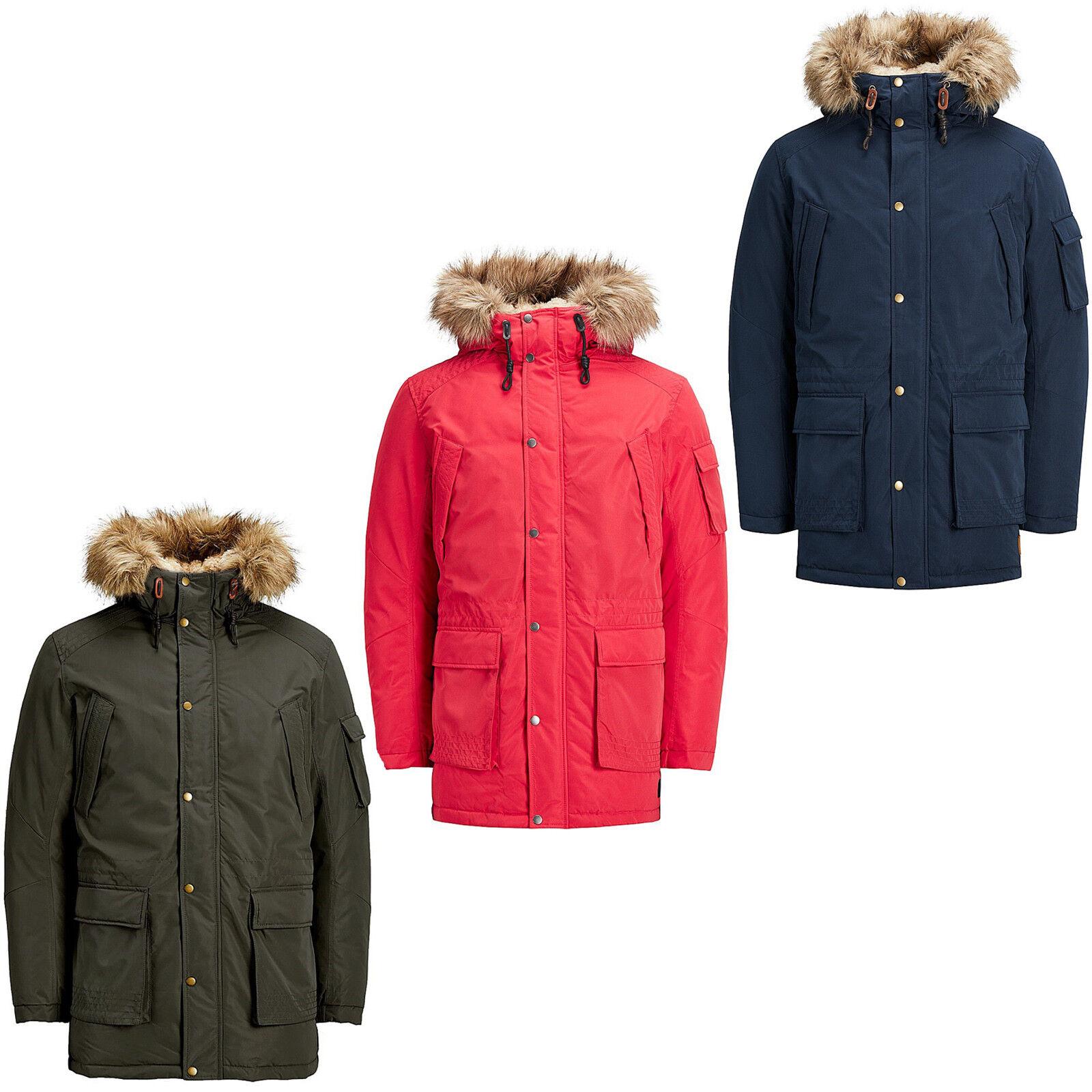 Details about Jack   Jones Originals Parka Jacket Mens Classic Winter  Parker Coat Jorlatte 1c01400db4f