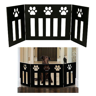 Pet Dog Gate Free Standing 48 in. Wide 19 in. Tall Three Panel Wooden Paw Décor