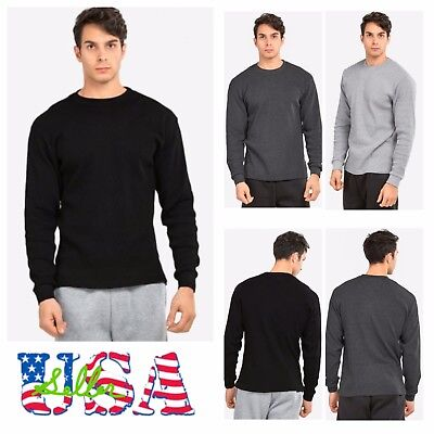 Men Long Sleeve Thermal  Shirts Casual Crew Neck Waffle Winter Cotton (Long Sleeve Thermal Long Underwear)