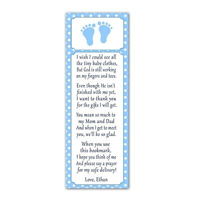30 bookmarks baby shower sprinkle favor ideas blue white footprints for boys - Ideas For Boy Baby Shower