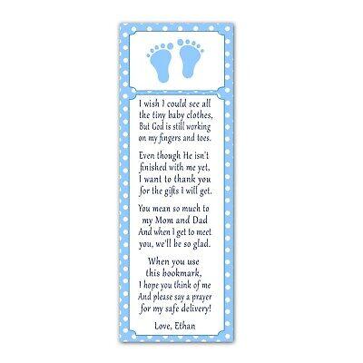 30 bookmarks baby shower sprinkle favor ideas blue white footprints for boys - Favor Ideas