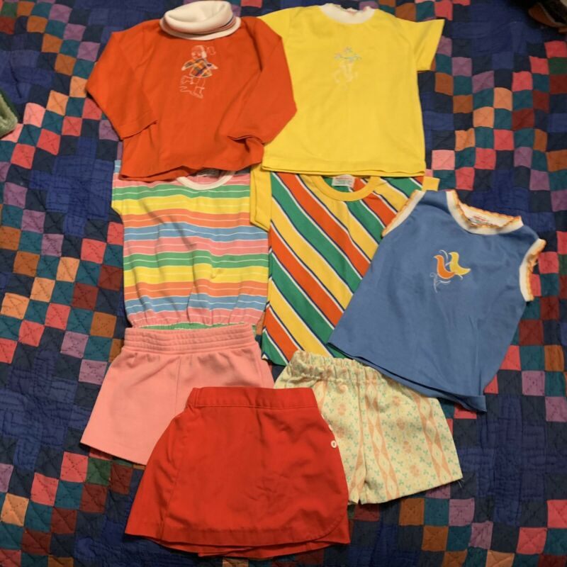 Vintage Lot Of 8 , Heathtex 80s Funky Bright Colors 4T Tops Bottoms Girl