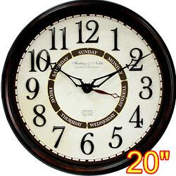 20 INCH CALENDAR WALL CLOCK DAY WEEK ARABIC NUMERAL CLASSIC HOME OFFICE BLACK