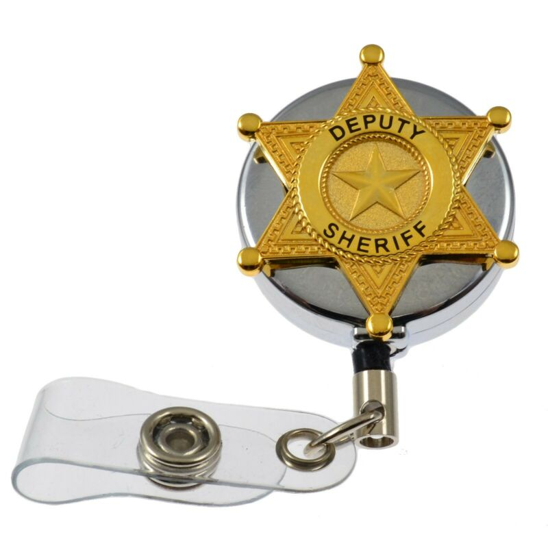 Deputy Sheriff Police Retractable ID Card Badge Holder Pull Reel Chrome
