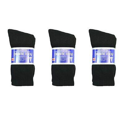 New Diabetic Crew Socks Circulatory Health Cotton Loose Fit Top 3 Pairs