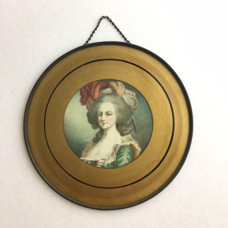 Antique FLUE COVER Portrait 18th Century Woman Large Feather Hat - Picture Frame