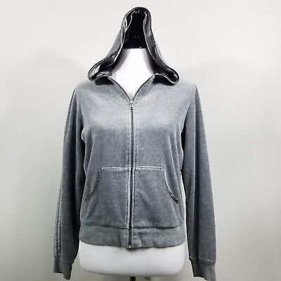 Izod Movement Gray Cotton Velour Satin Trim Full Zip M Hoodie - Trim Velour Hoodie