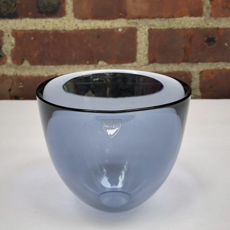 Orrefors PastilloSmoky Gray Blue Crystal BowlDesigner Lena Bergström Sweden