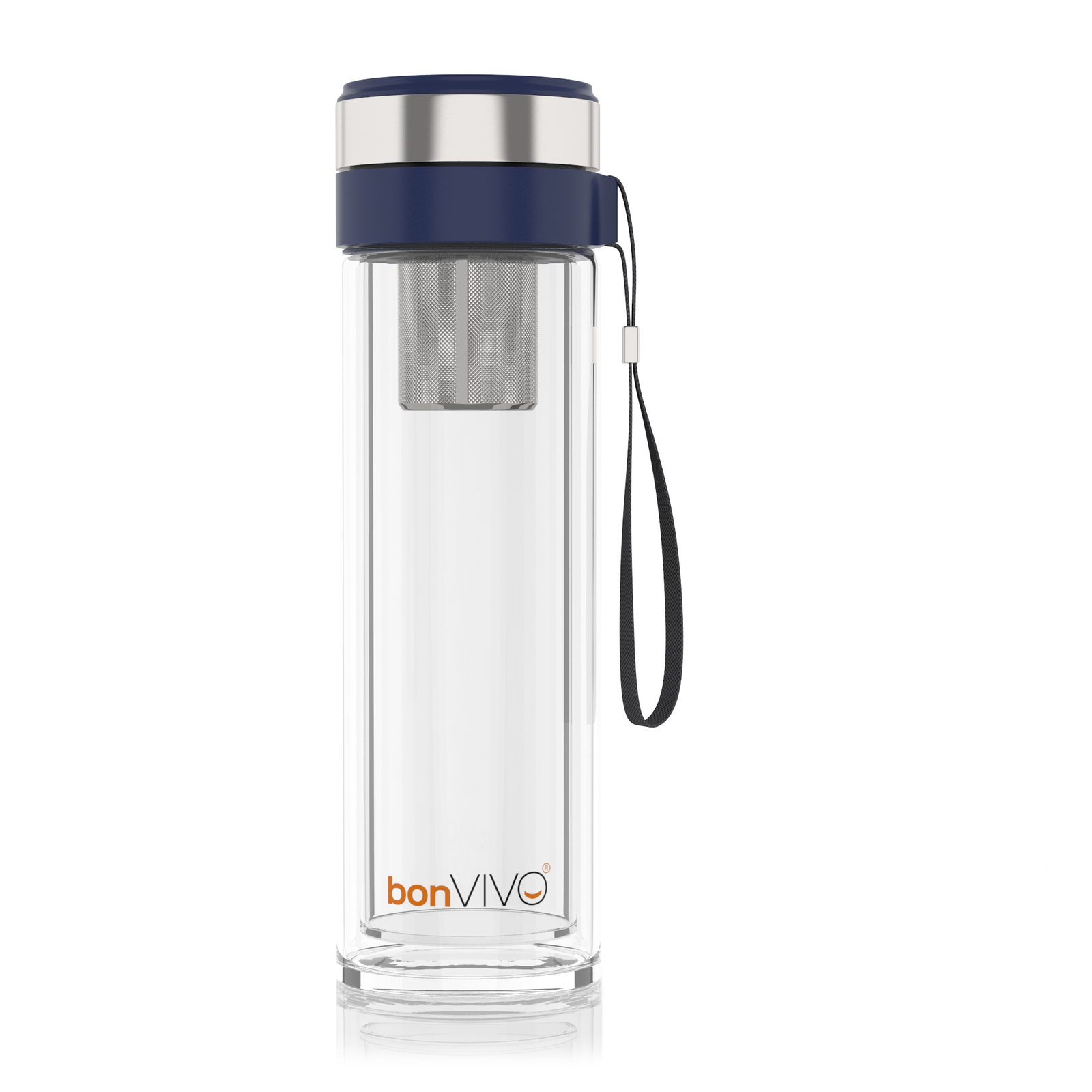 bonvivo Glas-Trinkflasche für Smoothies & Tee, Thermo-Funktion, Tea-Filter 0,45l