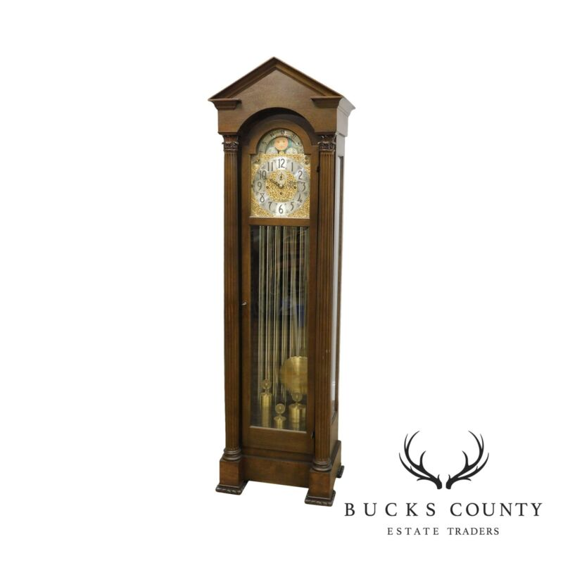 Herschede Vintage 9 Tube Mahogany Grandfather Clock