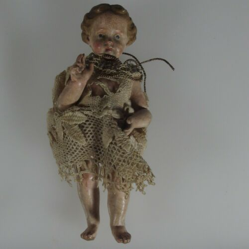 ANTIQUE JESUS CHILD DELICATE POLYCHROMED WOOD ARTICULATED FIGURE, 18TH CENTURY