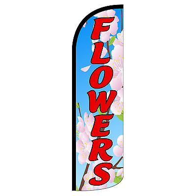 Flowers Swooper Flag And Pole Set Windless Banner Sign 3 Wide Blue Red