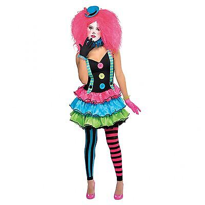 Petite Ladies Cool Neon Clown Circus Fancy Dress Party Halloween Jester Costume
