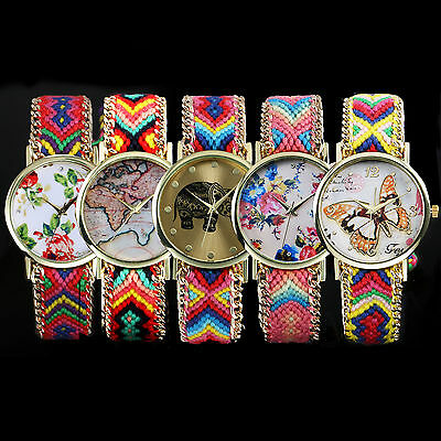 New Women Fashion Bracelet Analog Fabric Quartz Wrist Watch Girl Color Lots 5PCS