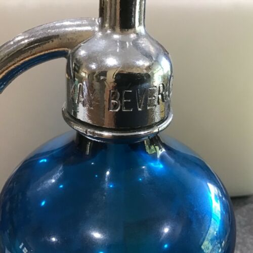 Antique KAY BEVERAGES CATSKILLS, NY 26oz Cobalt Blue Glass Soda Spritzer Bottle