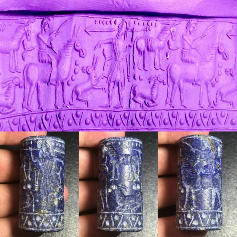 Ancient Roman Greek Historical Intaglio Warrior Old Lapis Cylinder Seal Old Bead