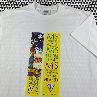 Ms Awareness Shirts (Vintage 1994 Race To Erase MS Aspen Marathon GUESS T-Shirt Size XL 90s)