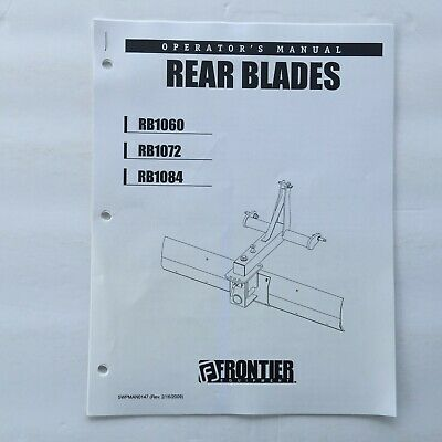 Frontier Rb1060 Rb1072 Rb1084 Rear Blade Owners Operators Manual