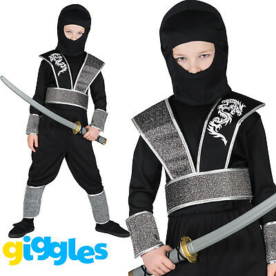 Boys Ninja Costume Japanese Samurai Warrior Martial Arts Fancy Dress Outfit (Ninja Costume For Boy)