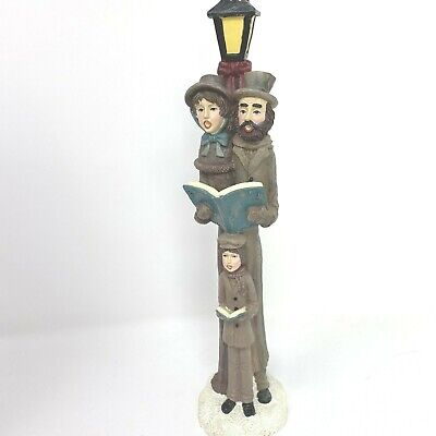 """Old World Victorian Christmas Carolers Family Lamp Post Statue 12"""" with Box"""
