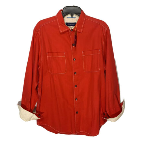 $118 Tommy Bahama Mens Sea Glass Flannel L/S Shirt Large Fireworks Red NWT Casual Button-Down Shirts